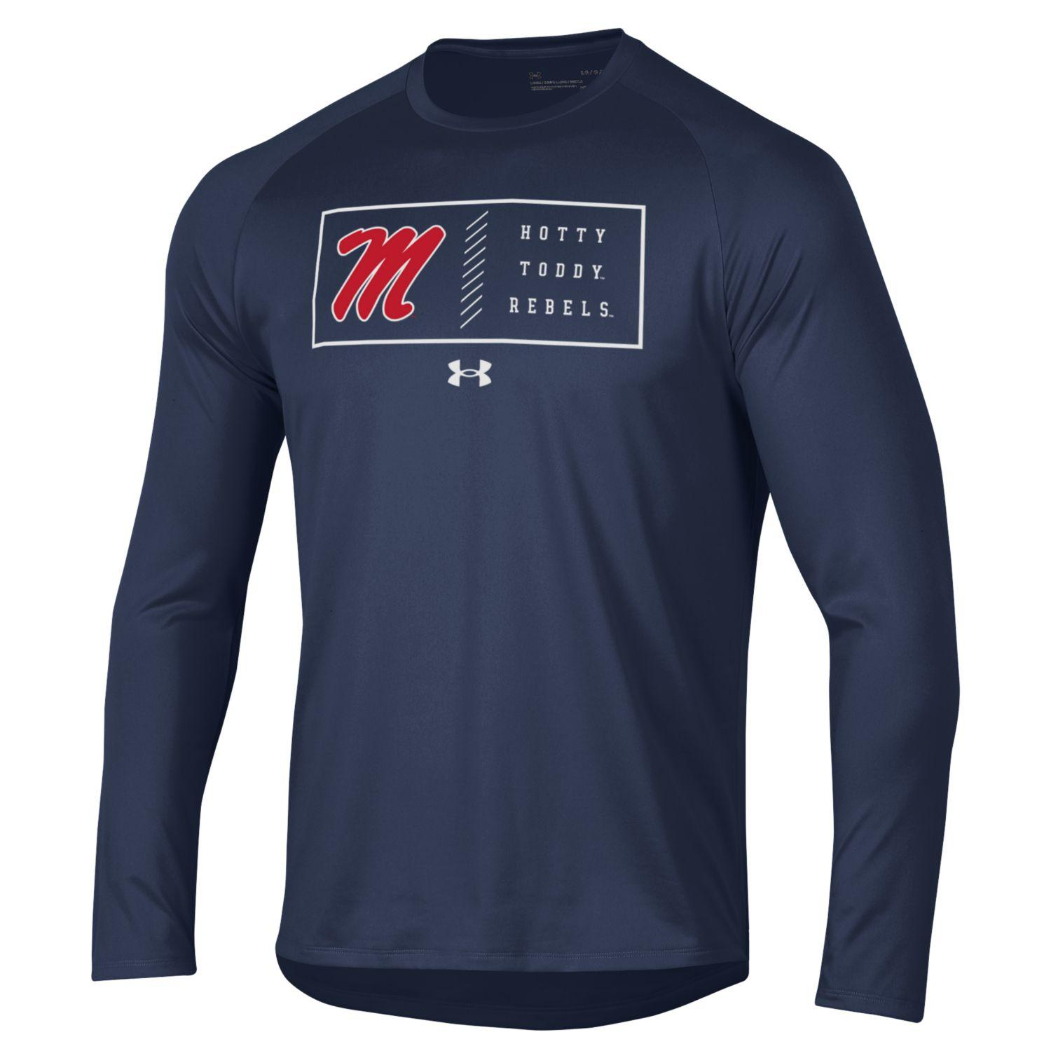 Under Armour Mens Long Sleeve Polyester Tech Tee Navy