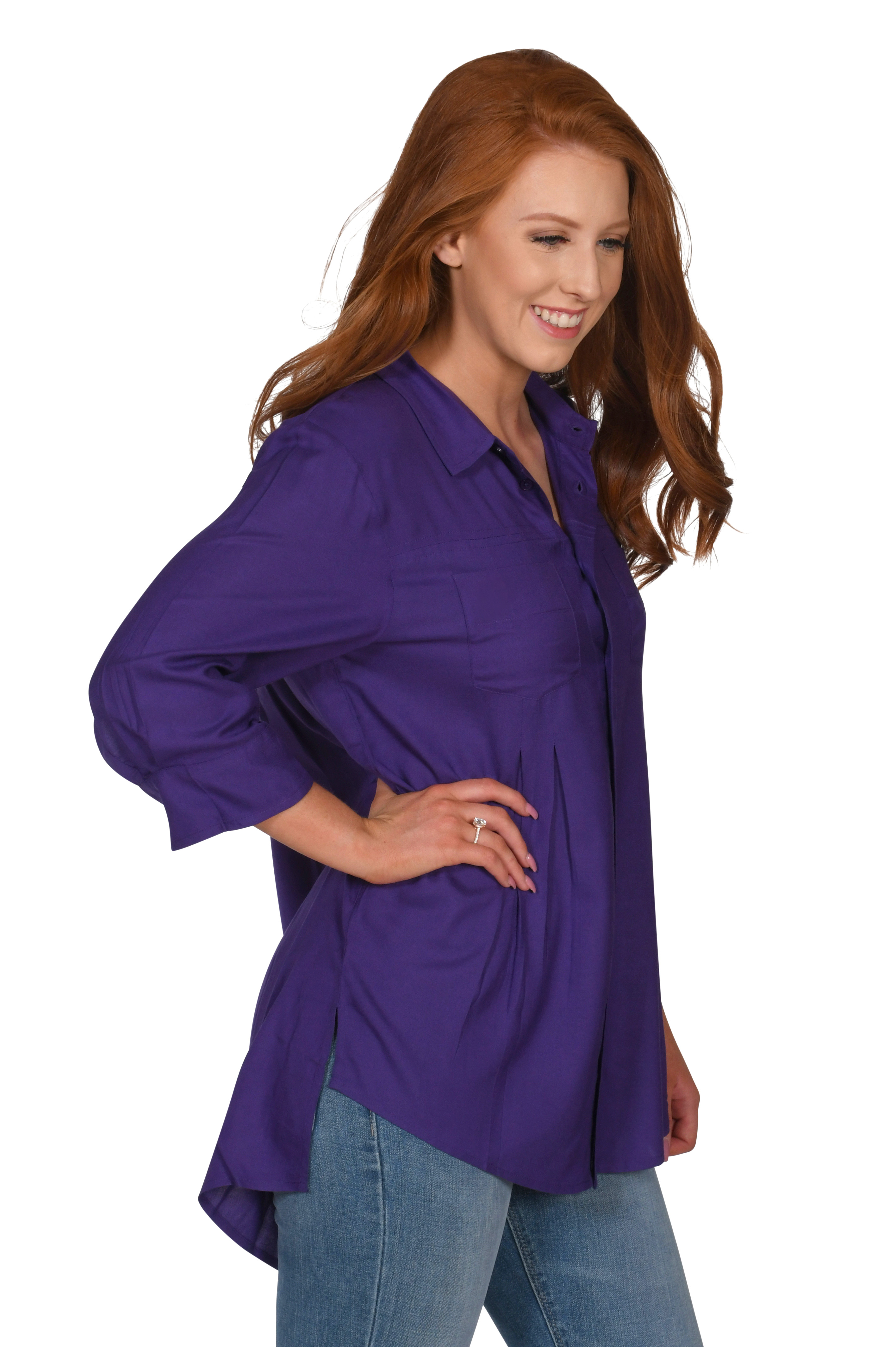 Front Pleat Button-Up