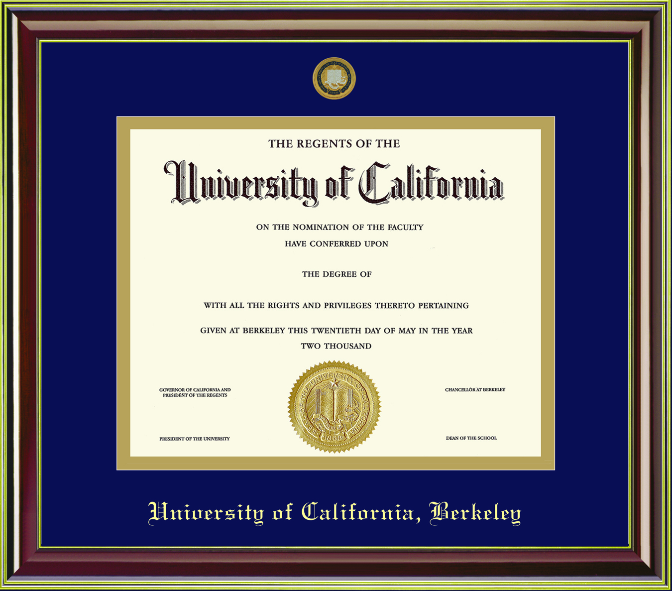 University of California Berkeley Mahogany Gold Diploma Frame