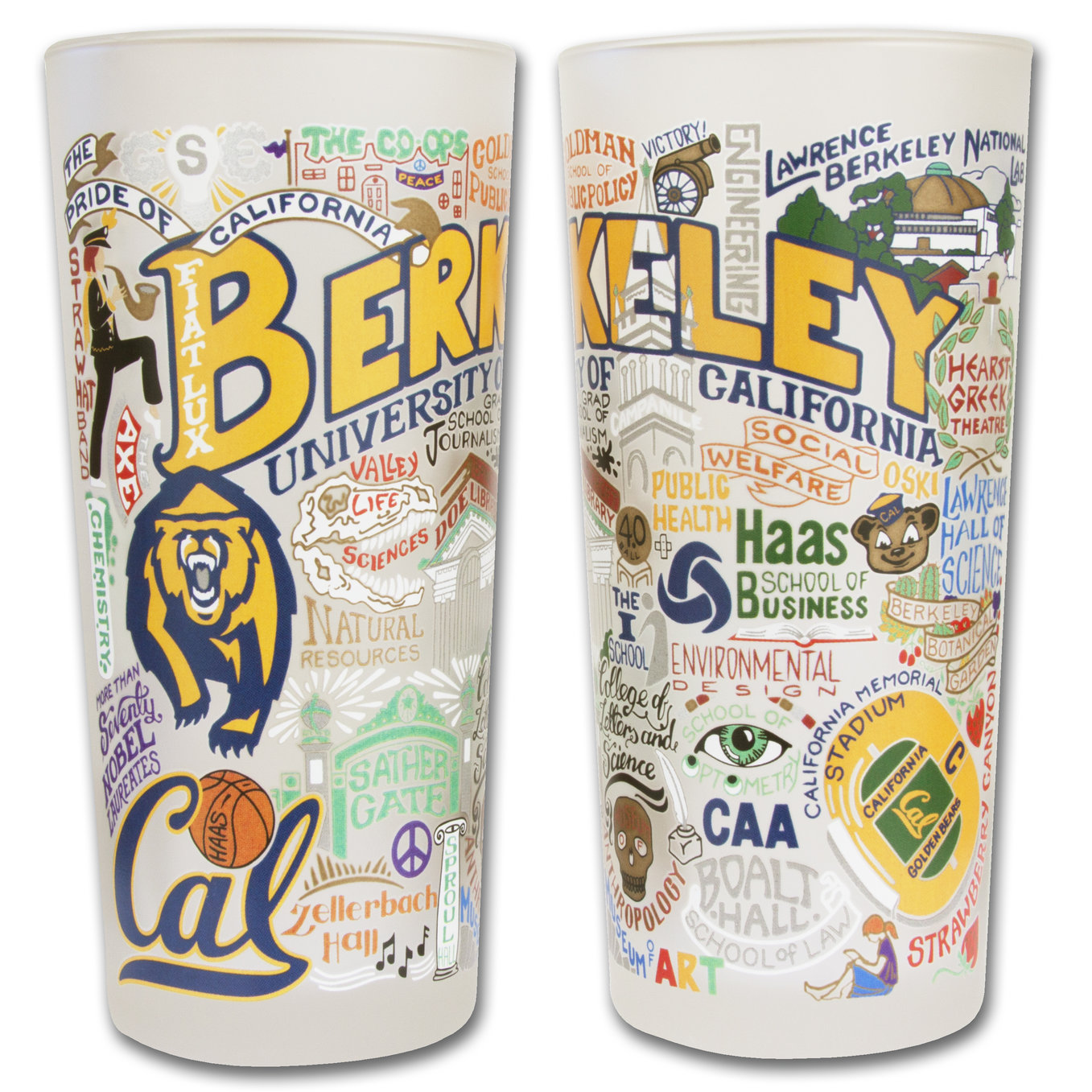University of California Berkeley Catstudio 15oz Frosted Glass