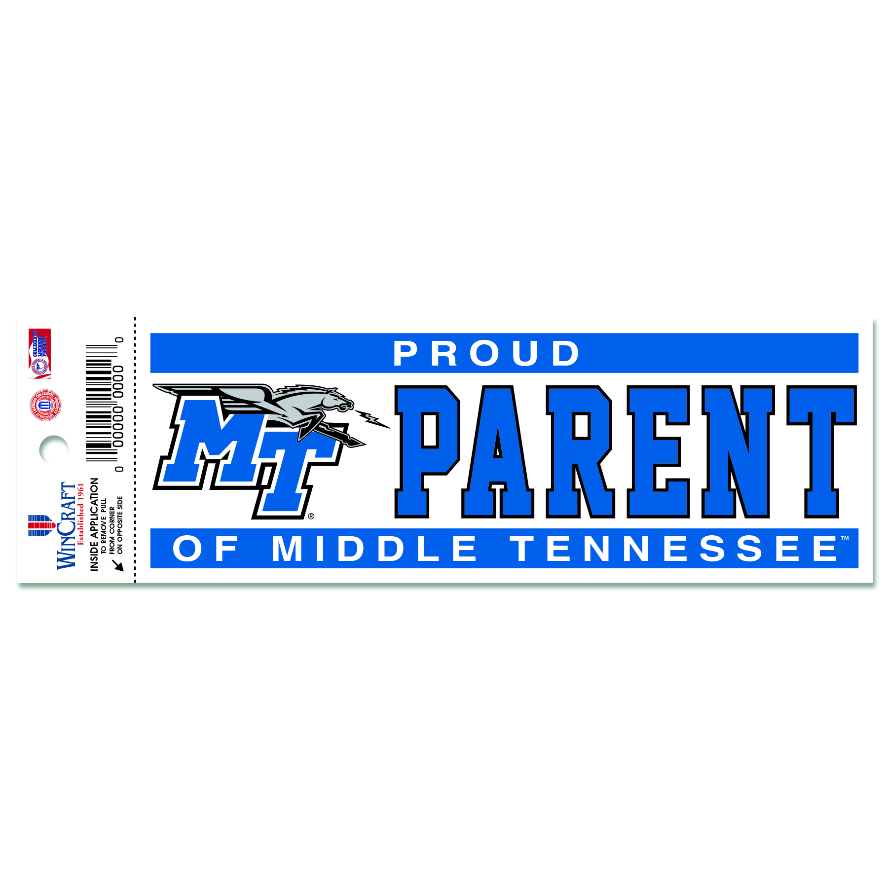 Proud Parent of Middle Tennessee Static Cling Decal