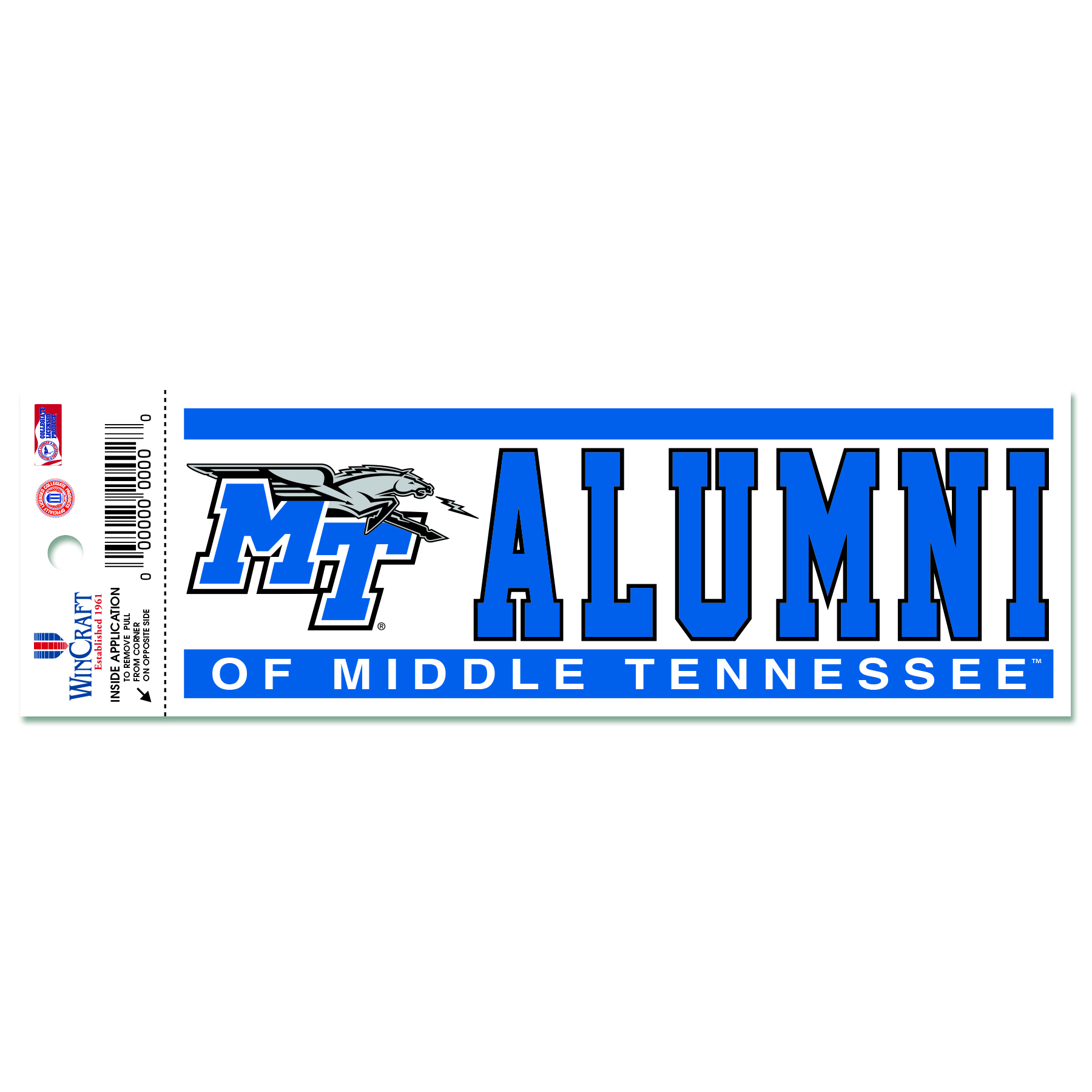 Alumni of Middle Tennessee Static Cling Decal