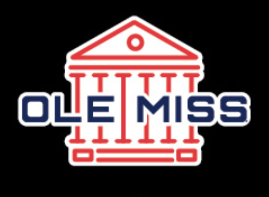 Navy and Red Ole Miss Lyceum Vinyl Decal 3 in