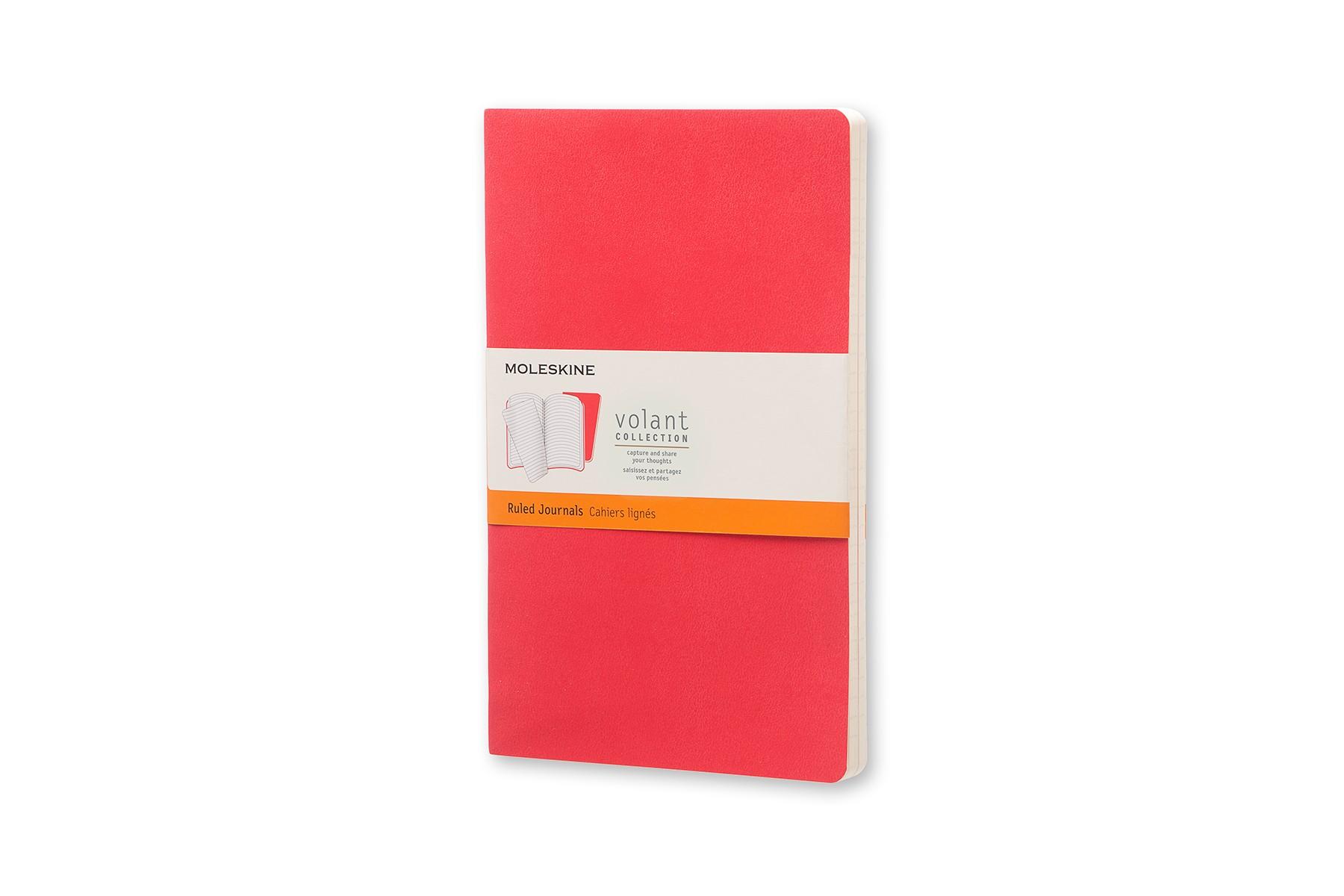 Moleskine Volant Journal Ruled Large Geranium Red/Scarlet Red
