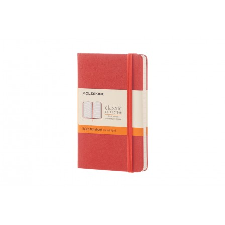 Moleskine Notebook Pocket Ruled Coral Orange Hard Cover