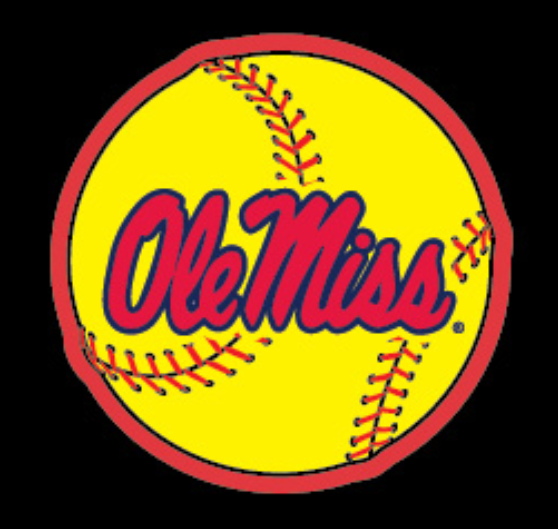 Yellow and Red Softball Vinyl Decal 3 in