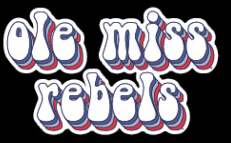 Navy and Red Ole Miss Rebels Stacked Bubble Vinyl Decal 3 in
