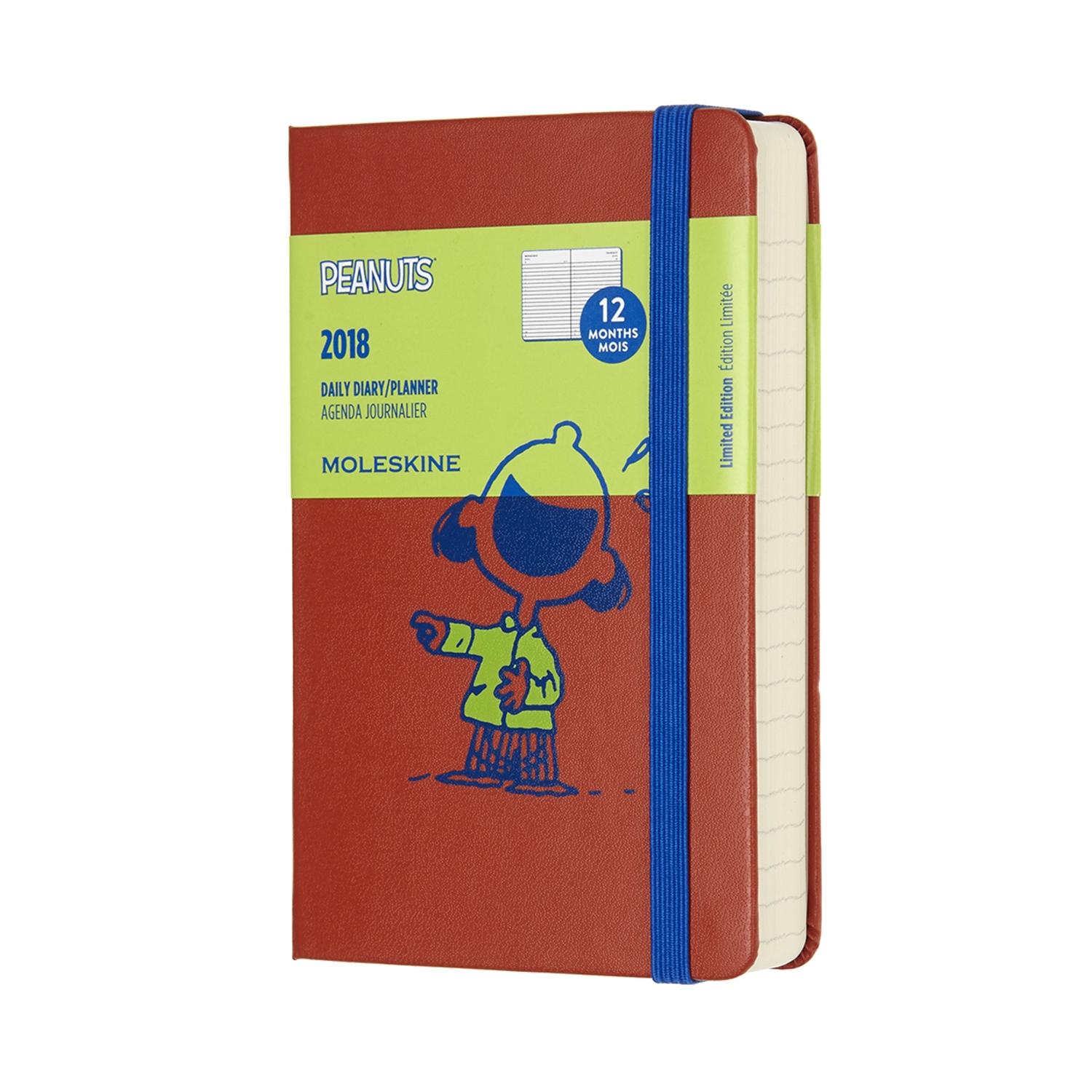 12-Month Limited Edition Peanuts Daily 2018 Planner - Pocket Orange  by MOLESKINE