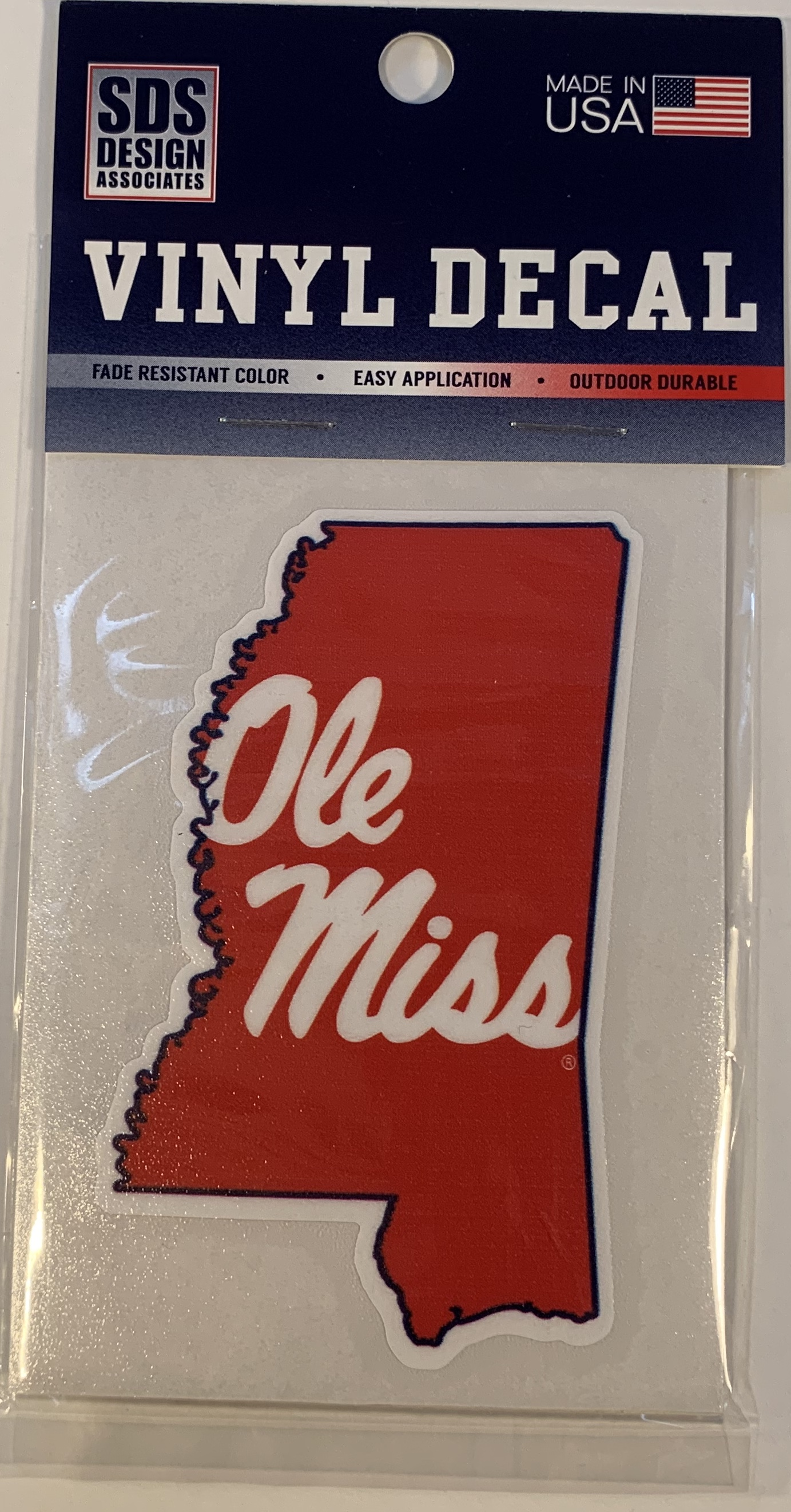 Red State with Ole Miss Script Vinyl Decal 3 in