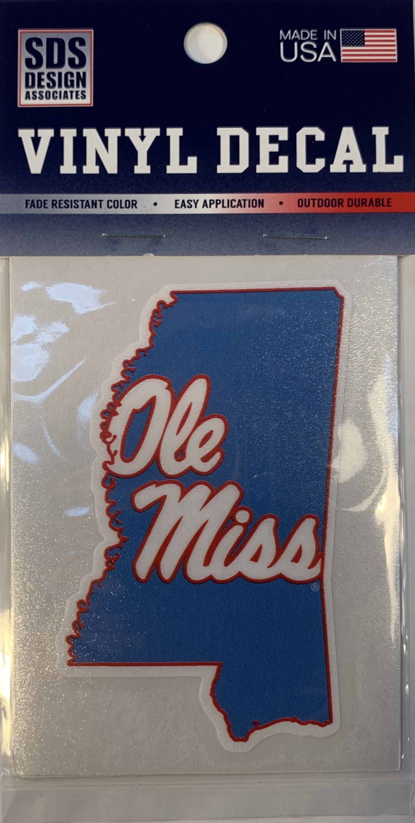 LA Blue State with Ole Miss Script Vinyl Decal 3 in