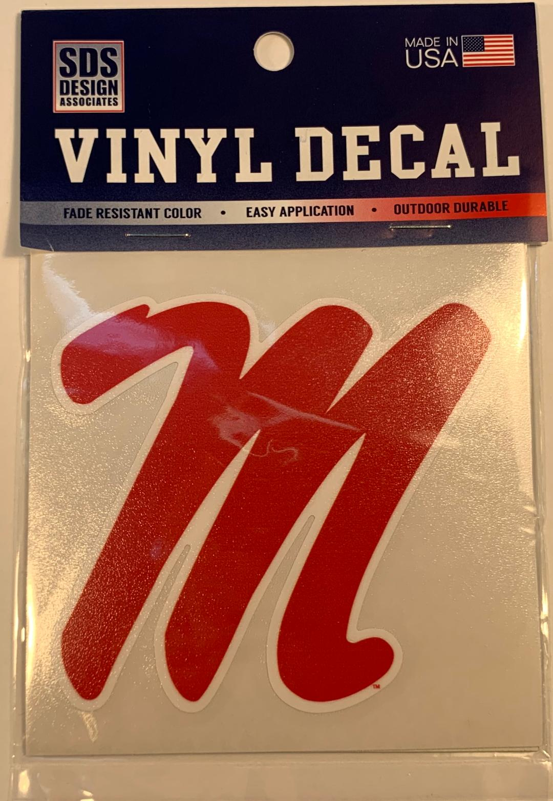 Red Script M Vinyl Decal 3 in