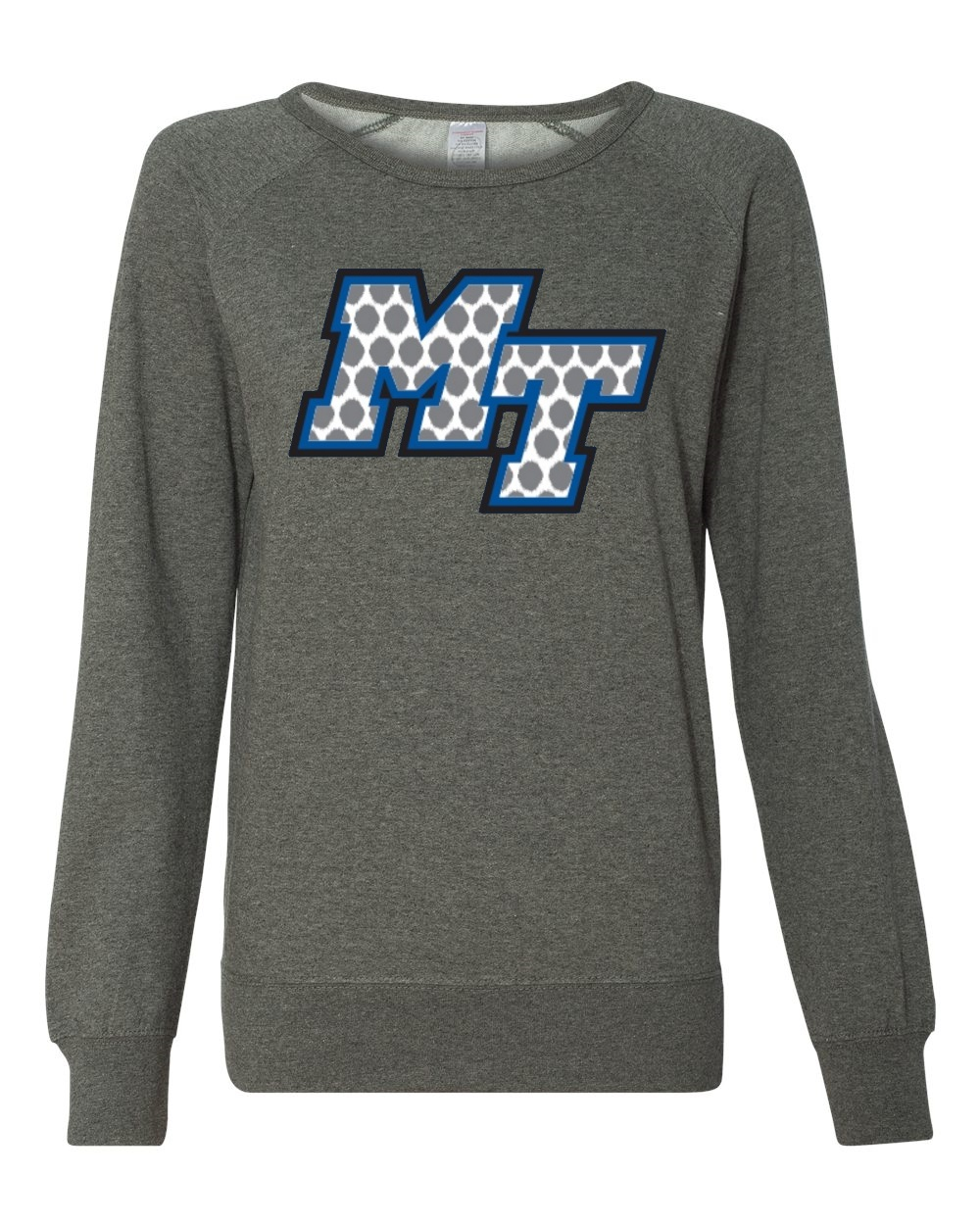 MT Logo Polka Dot Print Juniors Crewneck Sweatshirt