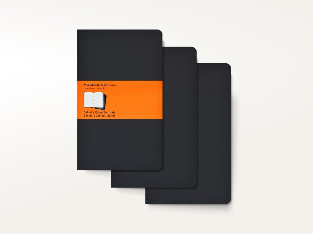 Moleskine Set of 3 Plain Cahier Journals - Black - Large