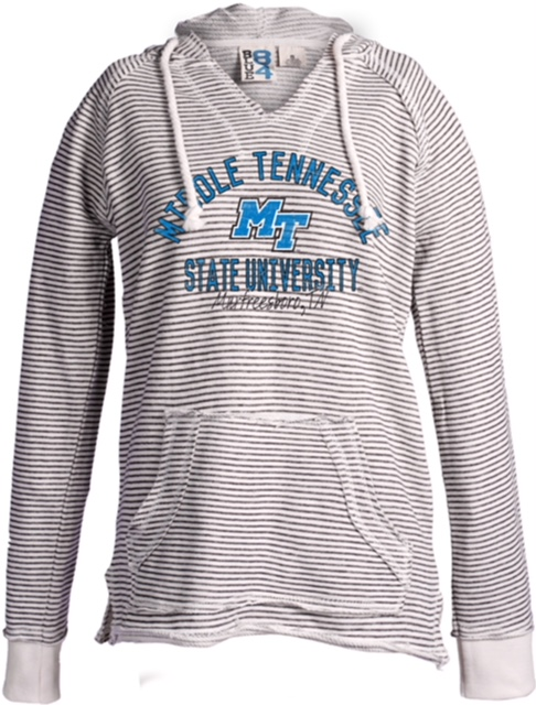 Middle Tennessee State University Striped Women's French Terry Vneck Hoodie
