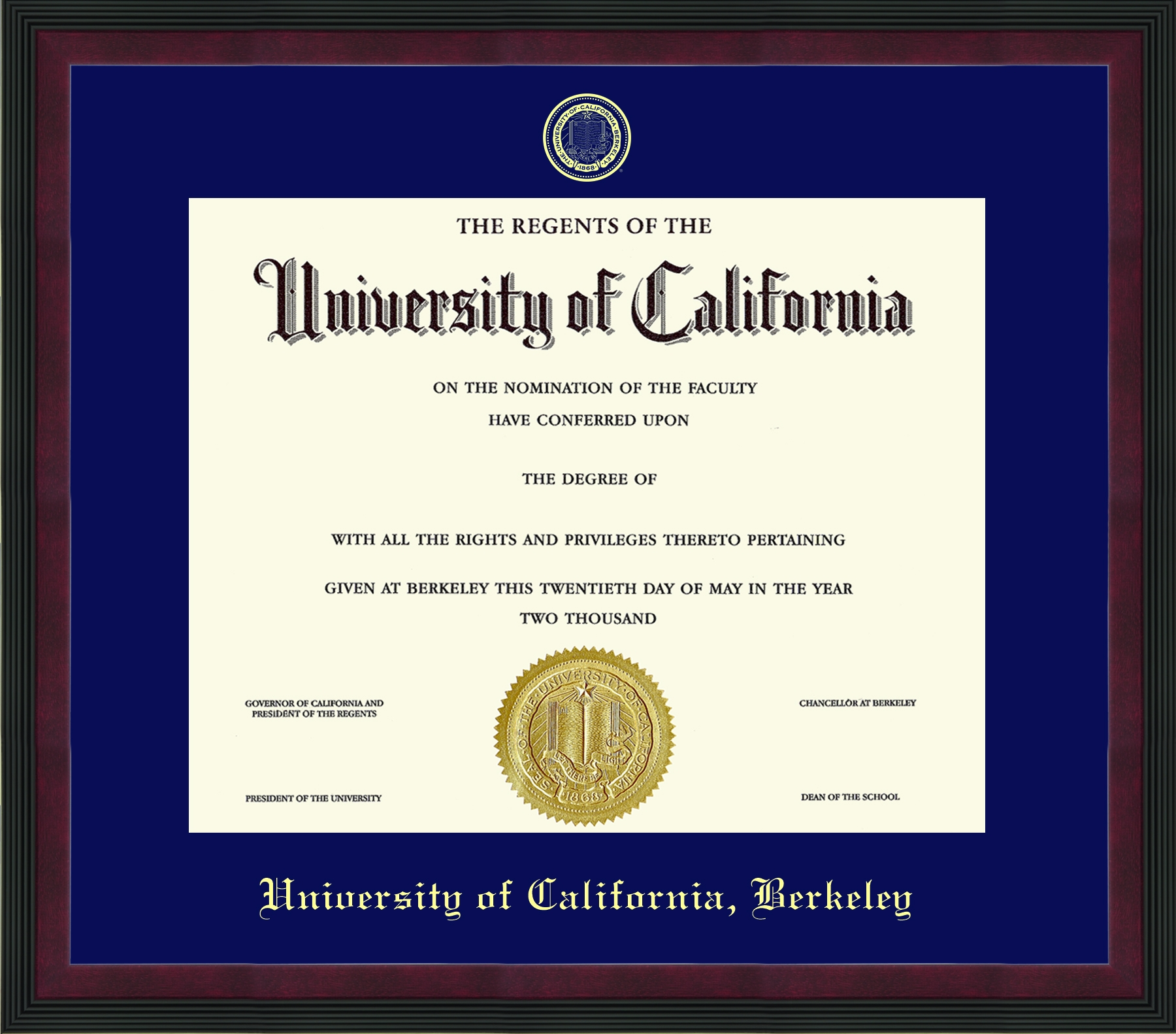 University of California Berkeley Olympia Diploma Frame