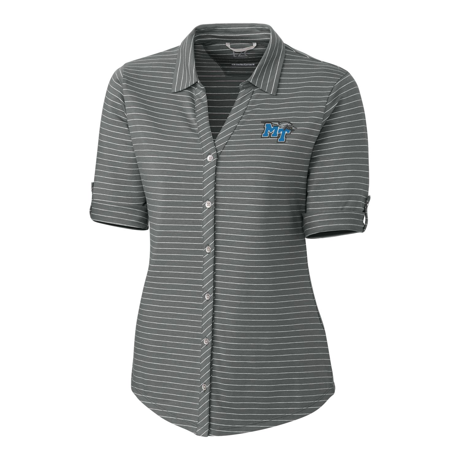 MT Logo w/ Lightning Women's Academy Stripe Polo