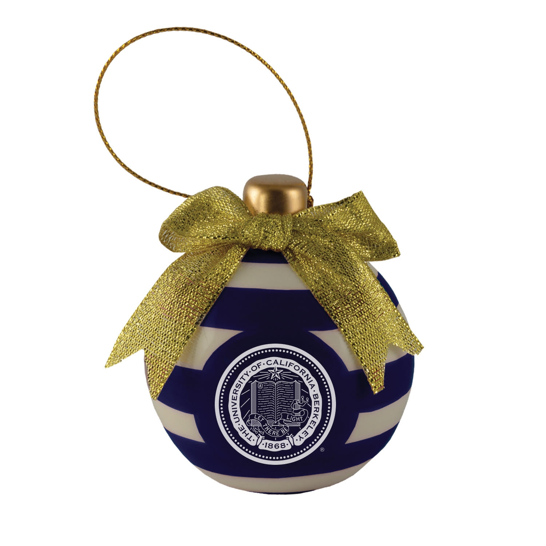Cal Bears Ceramic 3D Christmas Bulb Shaped Ornament School Seal