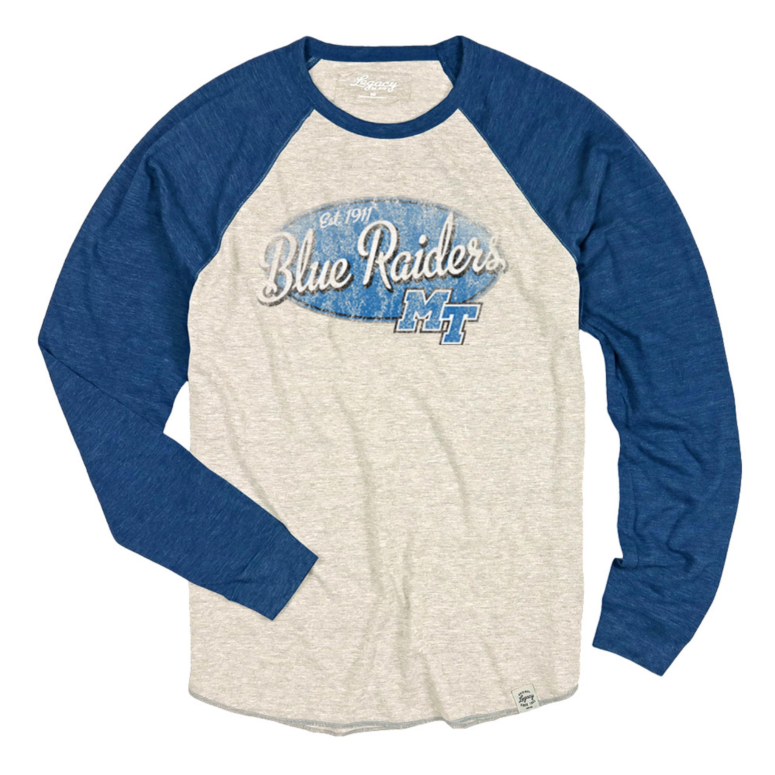 Blue Raiders Est. 1911 w/ MT Logo Tri-Blend Long Sleeve Raglan