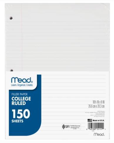 College Ruled Filler Paper