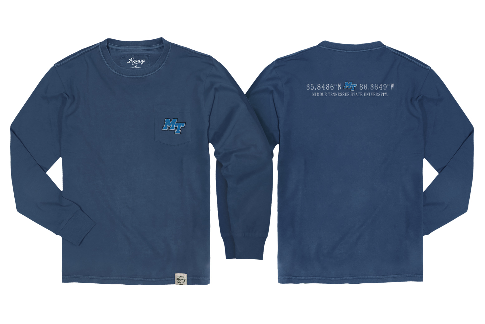 MT Logo Coordinates Vintage Wash Long Sleeve Pocket Shirt