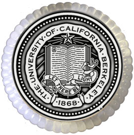 University of California Berkeley 4'' Round Glass Paperweight Pewter Seal