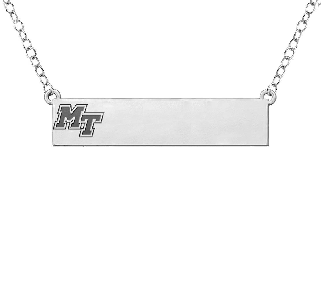 MT Logo Silver Bar Necklace