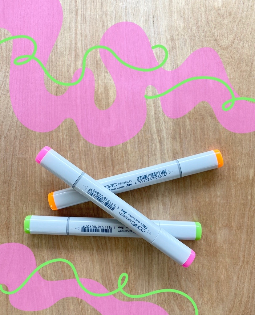 Copic Sketch Markers, Fluorescent Colors FYR1 - FRV1