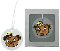 Cal Bears Round Hammered Glass Ornament Oski Logo