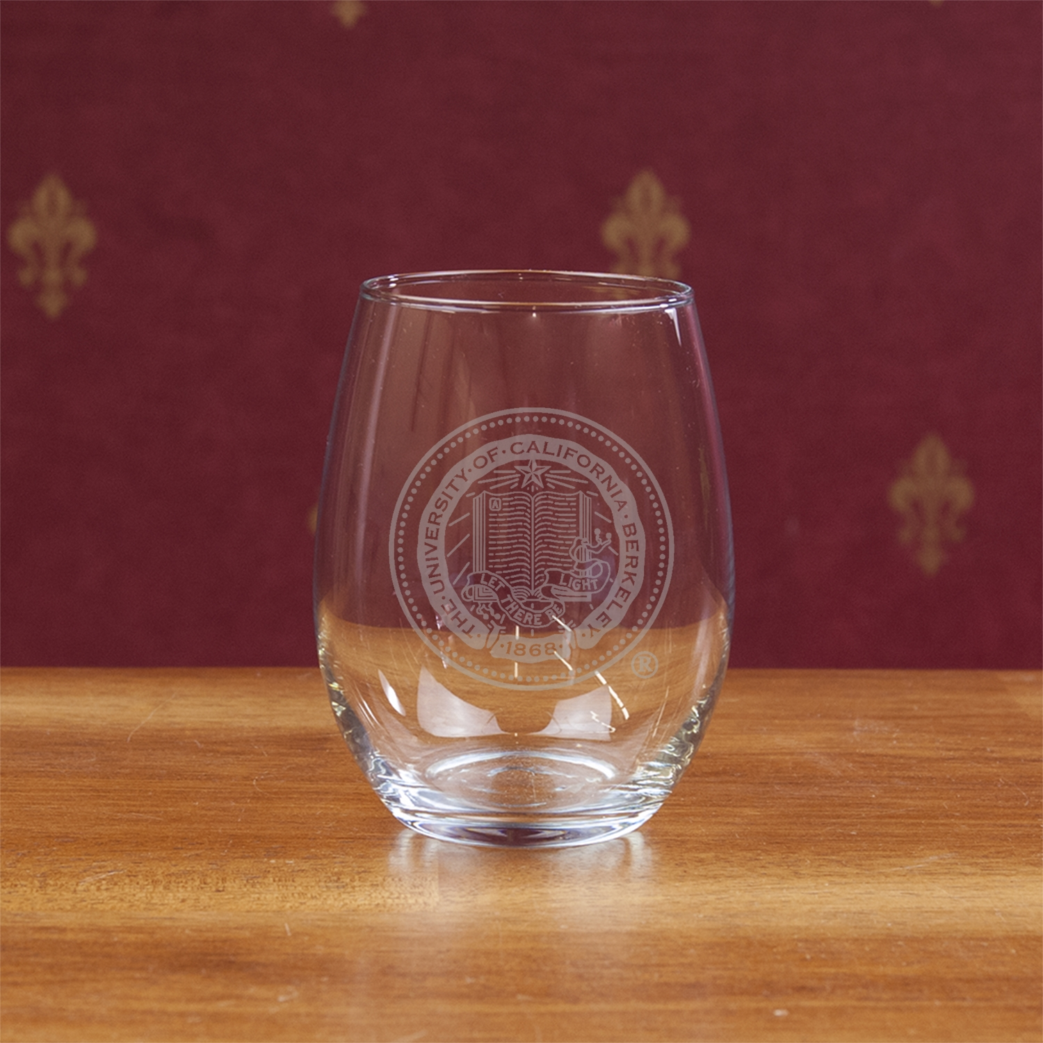University of California Berkeley 15oz Etched Stemless Wine Glass Seal Logo