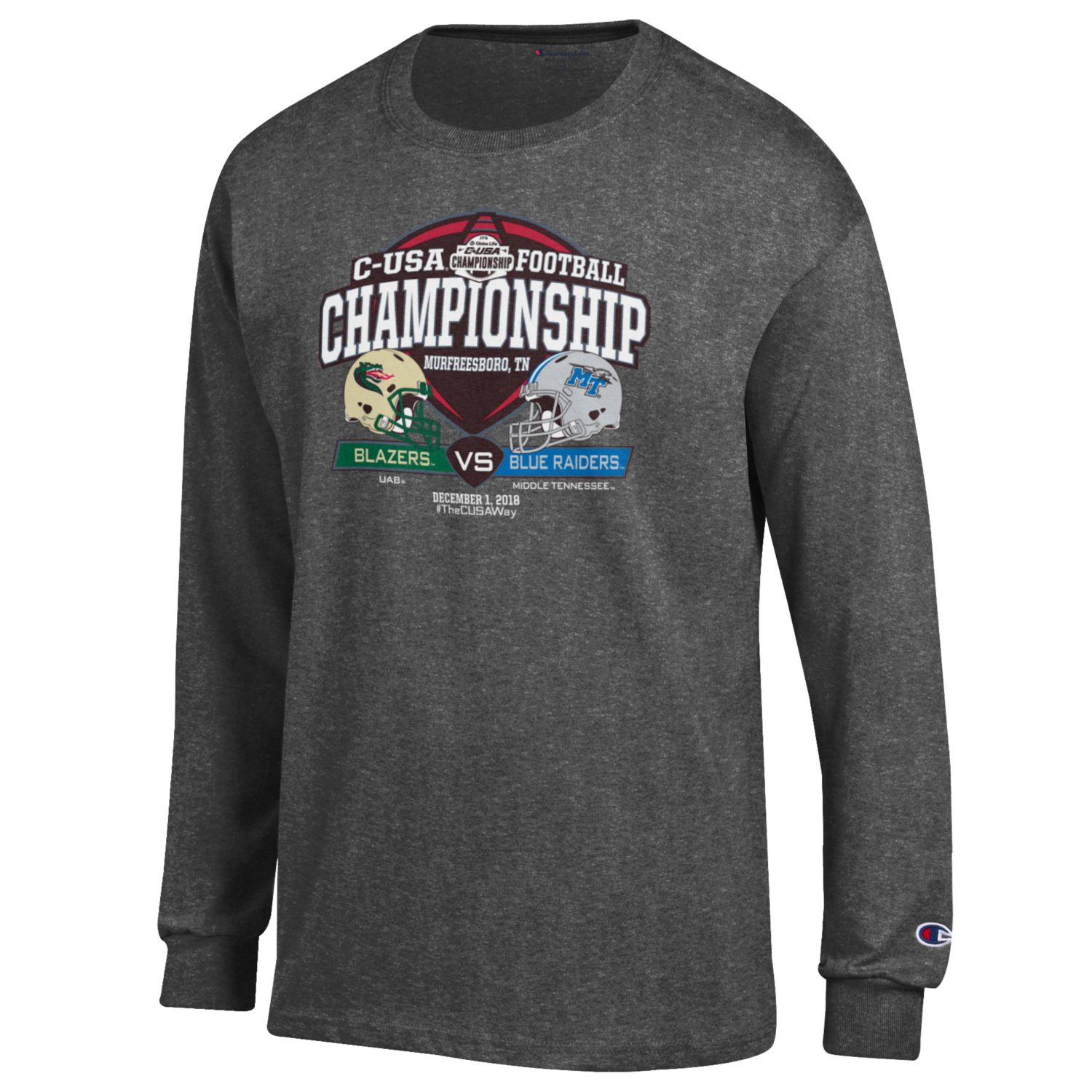 C-USA Shield MTSU vs. UAB w/ Helmets Long Sleeve Shirt