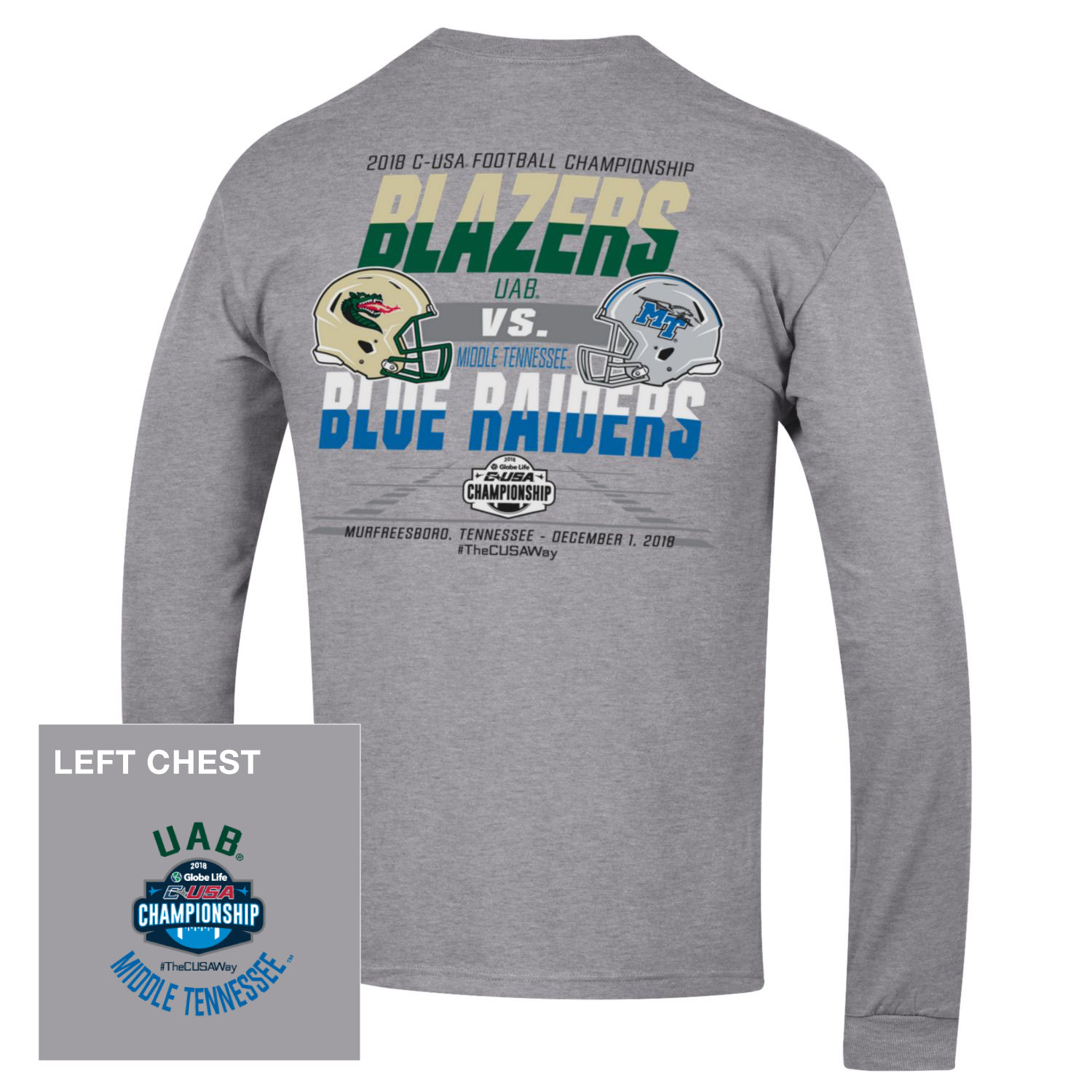Blazers vs. Blue Raiders C-USA Long Sleeve Shirt