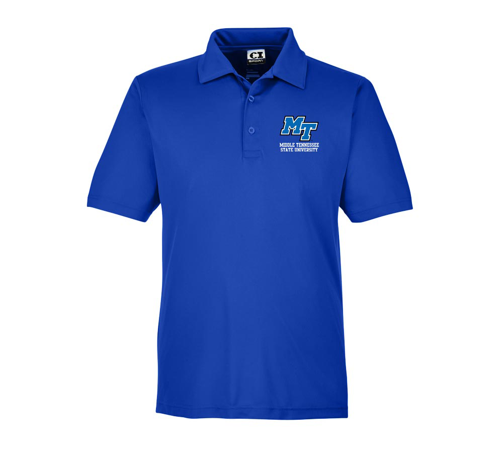 MT Logo Middle Tennessee State University Men's Zone Performance Polo