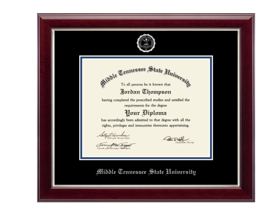 MTSU Silver Embossed Diploma Frame in Gallery