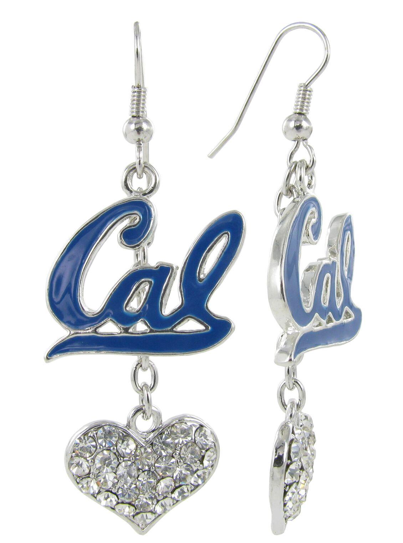 University of California Berkeley Enamel Cal Love Fish Hook Earrings with Hearts
