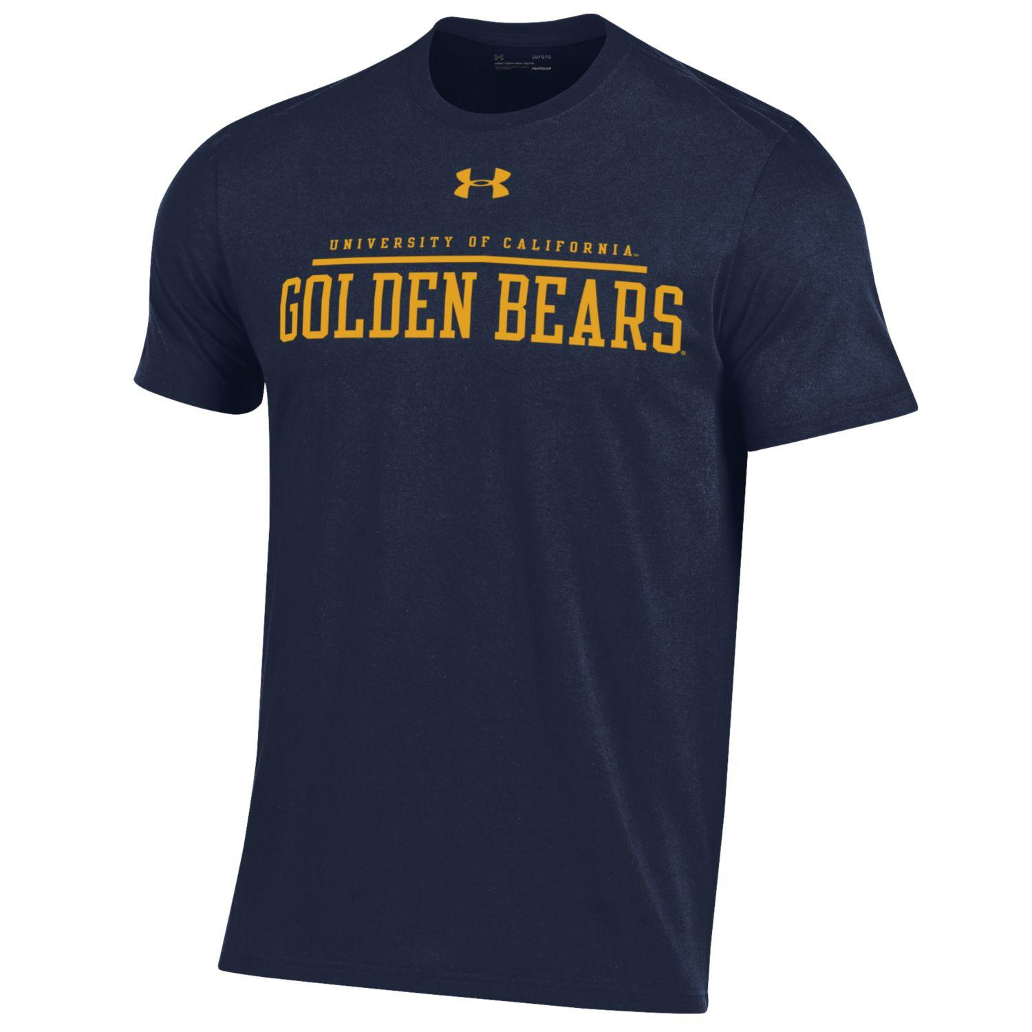 Cal Bears Under Armour Men's Performance Cotton SS Tee-Navy-Small