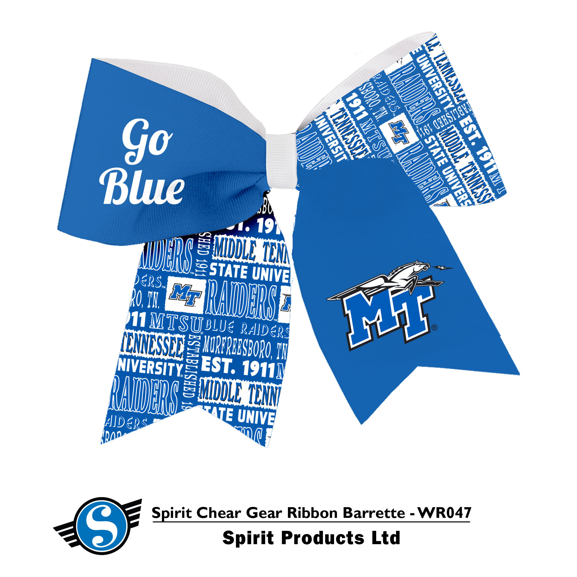 Middle Tennessee Spirit Cheer Gear Ribbon Barrette