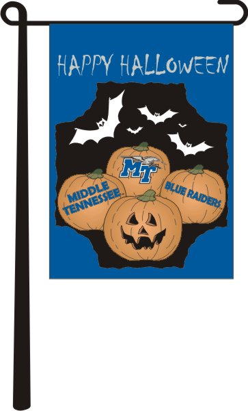 "MT Blue Raiders Happy Halloween 13"" x 18"" Garden Flag"