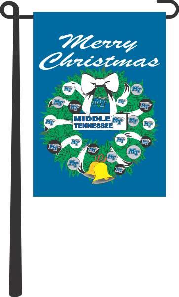 "MT Blue Raiders Christmas Wreath 13"" x 18"" Garden Flag"