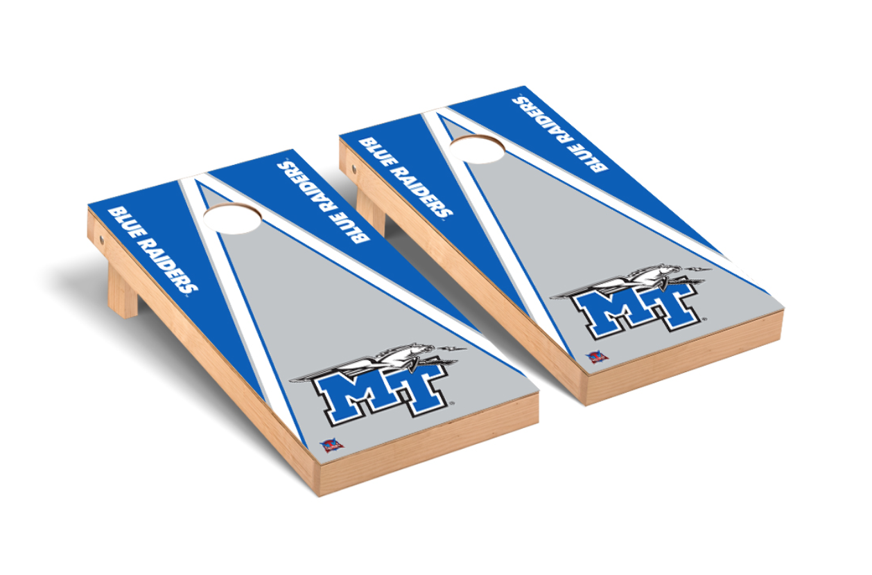 MT Logo w/ Lightning Blue Raiders Regulation Cornhole Game Set Triangle Version