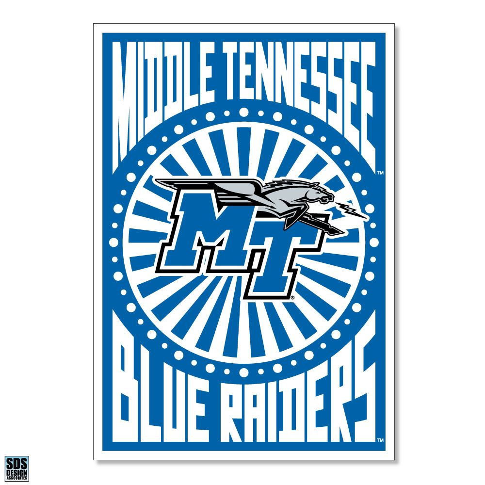 "Middle Tennessee Blue Raiders Pop Art 6"" Decal"