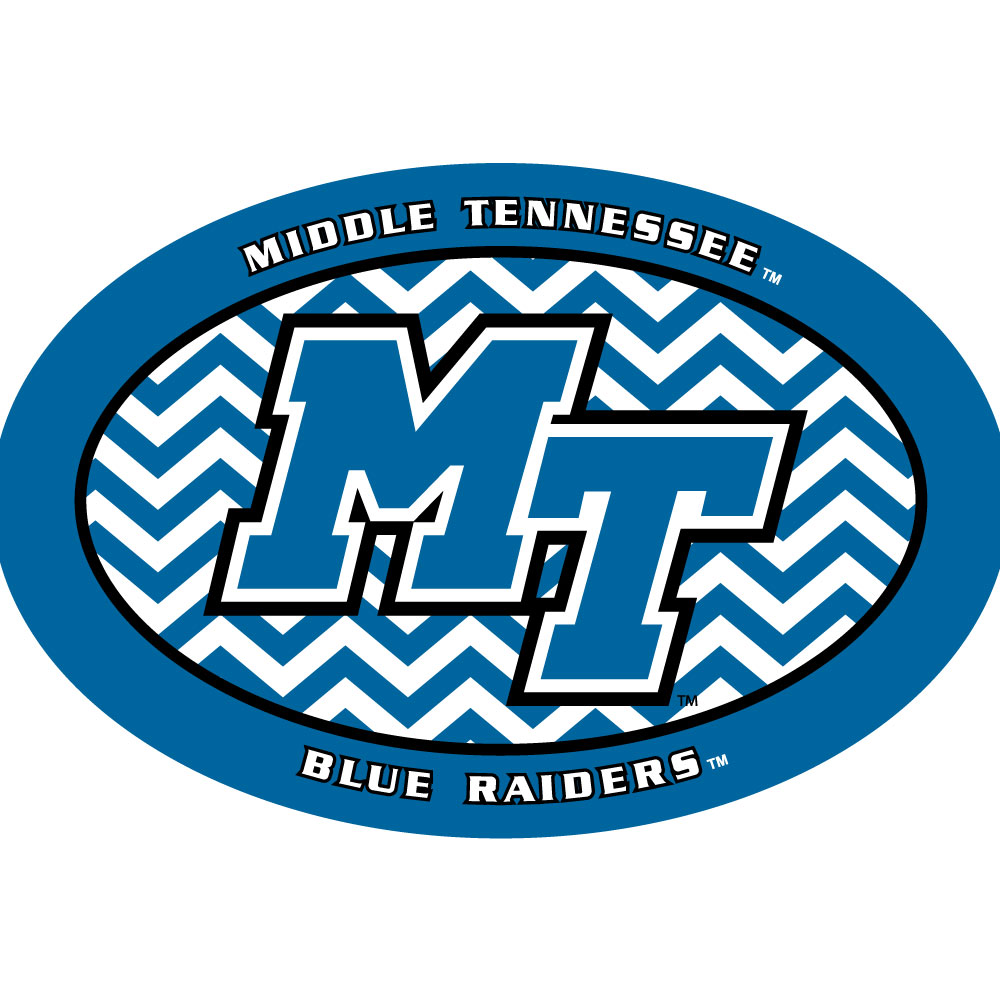 "MT Logo Blue Raiders Euro Chevron 6"" Decal"
