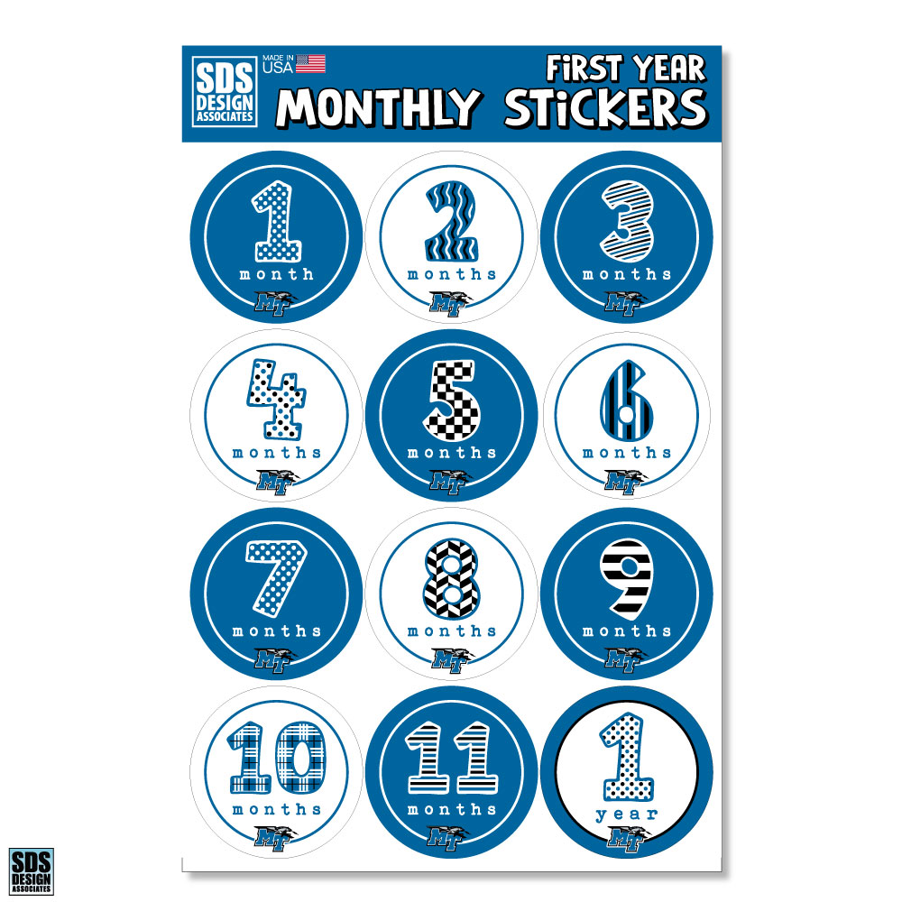 Middle Tennessee Baby Month Sticker Pack