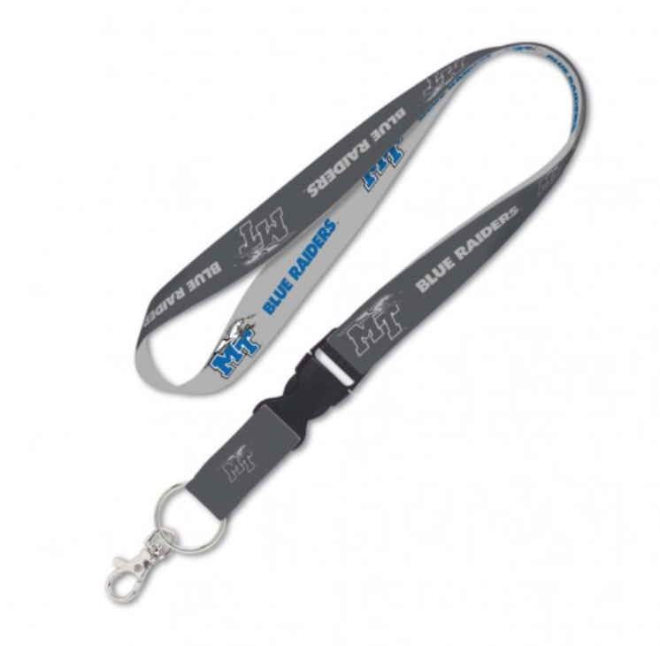 "MT Logo w/ Lightning Blue Raiders 1"" Lanyard w/ Detachable Buckle"