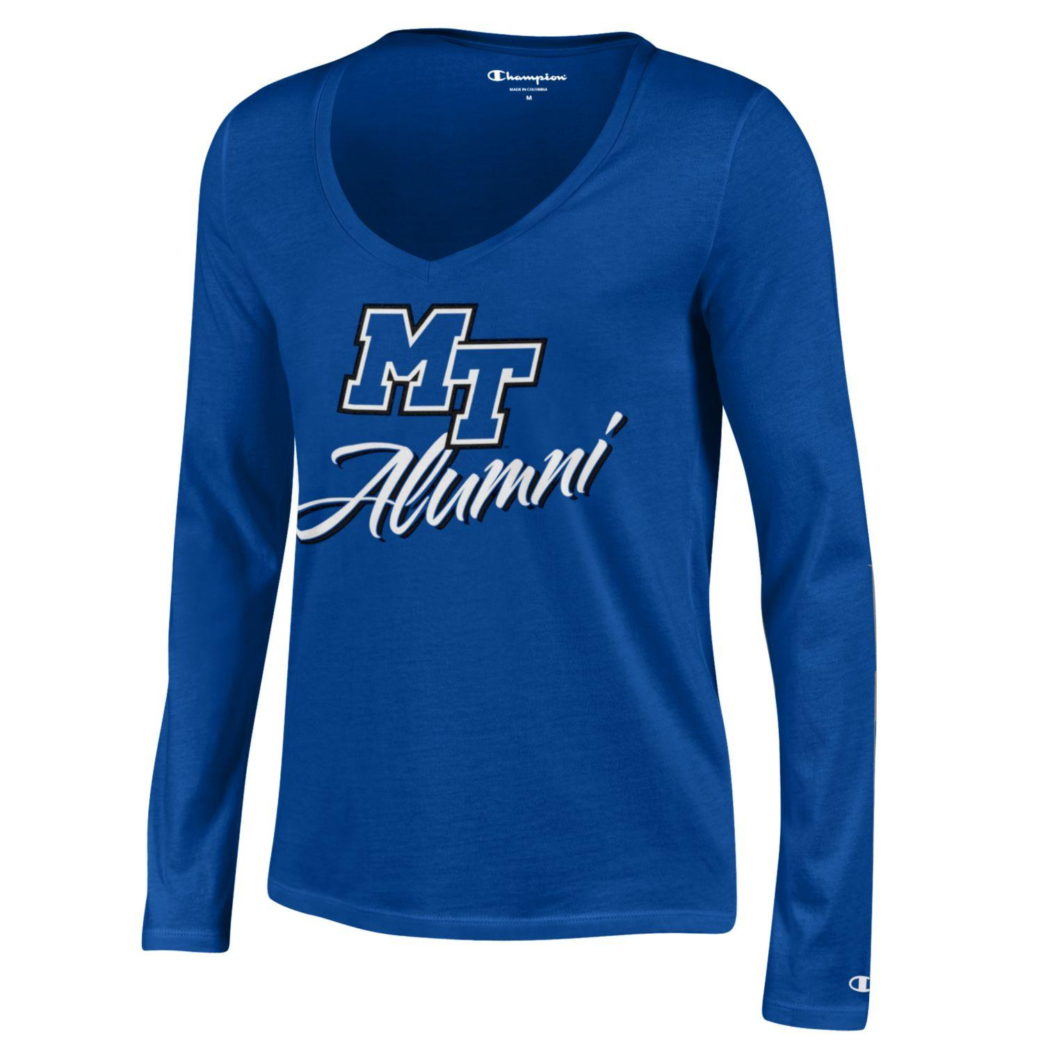 MT Logo Alumni Women's University Long Sleeve Vneck
