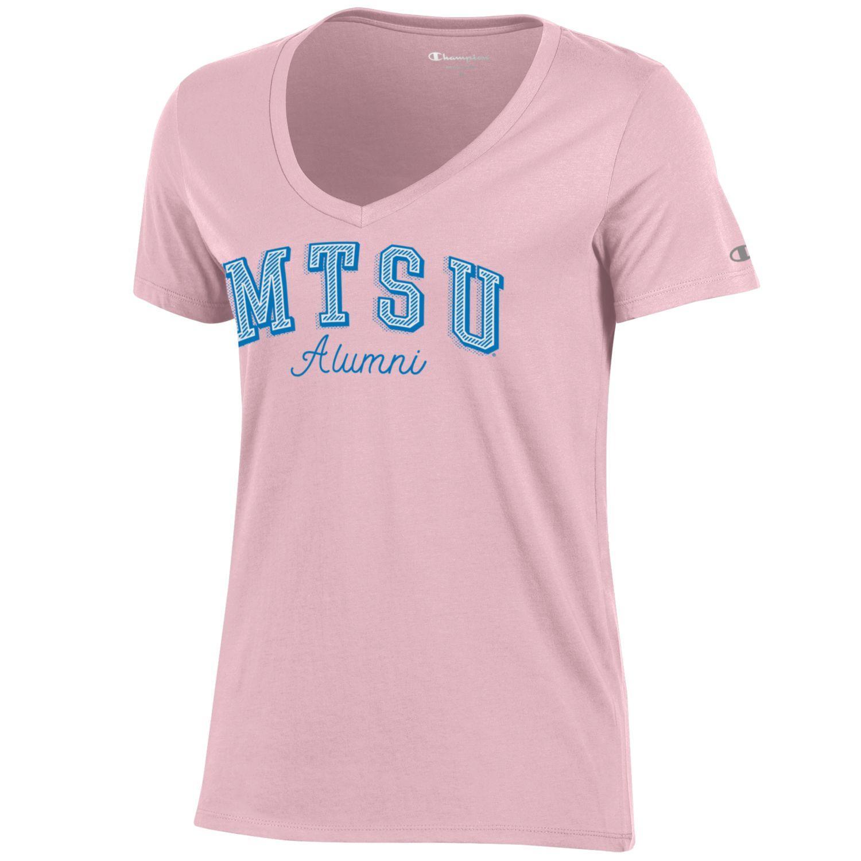 MTSU Alumni Script Women's University Vneck Shirt