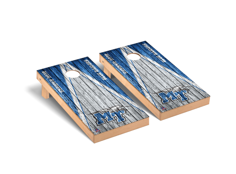 MT Logo w/ Lightning Blue Raiders Regulation Cornhole Game Set Triangle Weathered Version