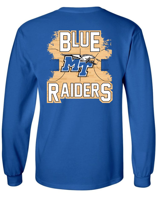 Blue Raiders Official Basketball Court Long Sleeve Shirt