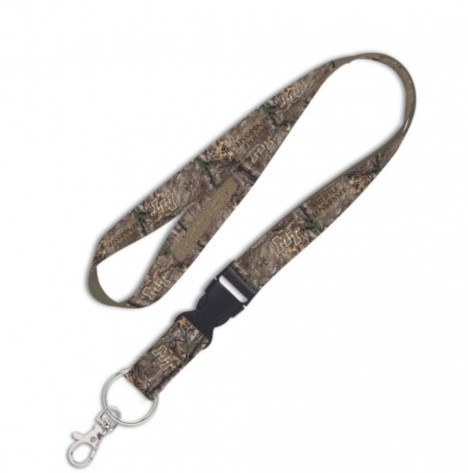 MT Logo Middle Tennessee Camo Lanyard w/ Detachable Buckle 1""