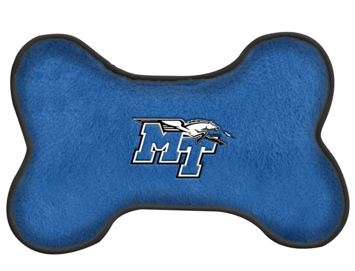 MT Logo w/ Lightning Blue Raiders Pet Squeak Toy
