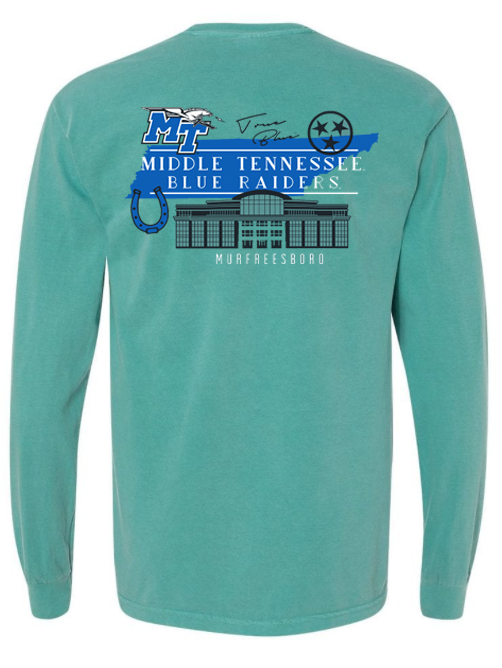 Middle Tennessee Campus Building State Comfort Colors Long Sleeve Shirt